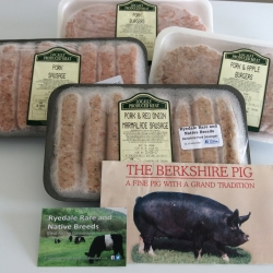 Berkshire pork sausages and burgers