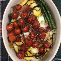 Pheasant Breast With Parma Ham, Asparagus & Vine Tomatoes