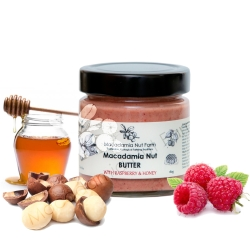 Macadamia nut butter with raspberries and honey