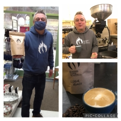 Our own Logie blend of coffee being delivered by Kevin from Inverness coffee