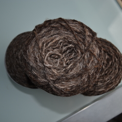 Dark Brown varigated yarn - spun from the fleece