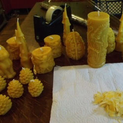 Preparing the beeswax candles for Wrapping