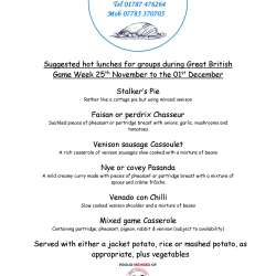 A menu on offer during the Great British Game Week
