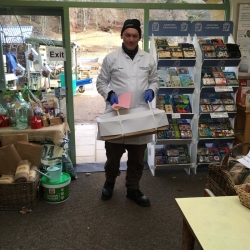 George with the Friday fresh fish delivery
