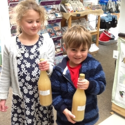 Delivering the Logie apple juice to the shop