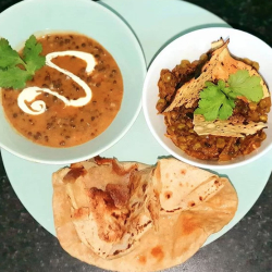 Black daal, with aubergine curry and Roti