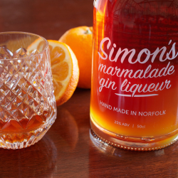 Simon's Marmalade Gin Liqueur in glass