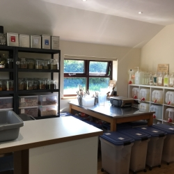 Range of cleaning and toiletry refills; borrow our glass bottles or fill your own.