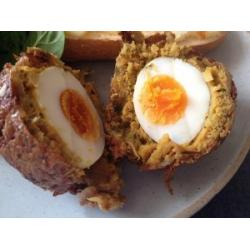 Onion Bhajee Scotch Egg with Garlic