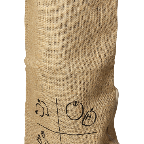 Burlap bag with organic cotton drawsting  for potatoes