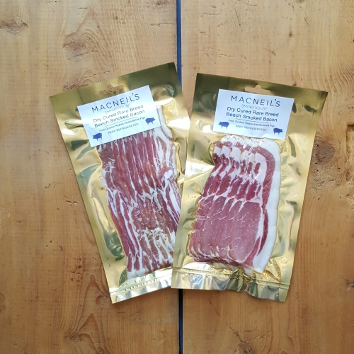 Dry Cured Rare Breed Beech Smoked Bacon— per pack