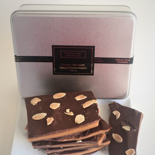 Luxury Chocolate Almond Buttercrunch Toffee 500g