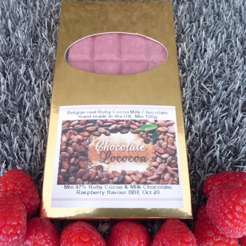 Chocolate Lococoa 47% Natural Ruby Chocolate Bar Flavoured with Raspberry 100g