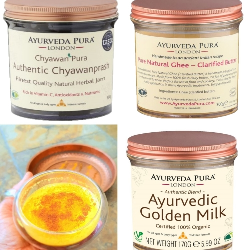 1 x Ayurvedic Golden Milk, 1 x Chyawanprash, 1 x Pure Natural Ghee (Clarified Butter).