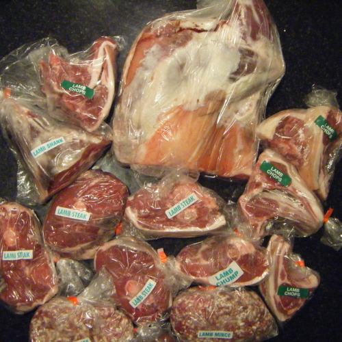 LAMB PACKS - half lamb £68.  Joints either halved, whole or in steaks