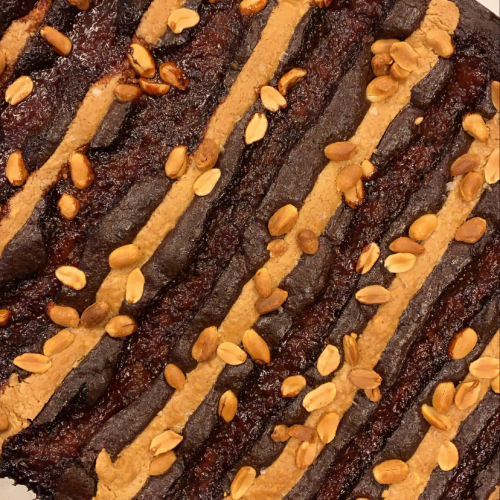 Vegan Chocolate Brownie with Caramelised Banana Jam & Peanut Butter