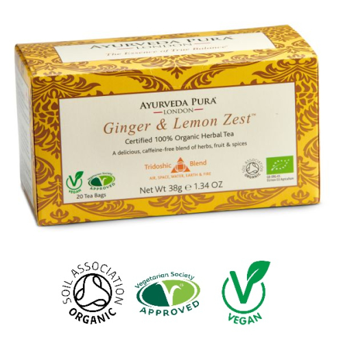 Ginger & Lemon Zest™ - Organic Herbal Tea - Tridoshic Blend - 38g Box