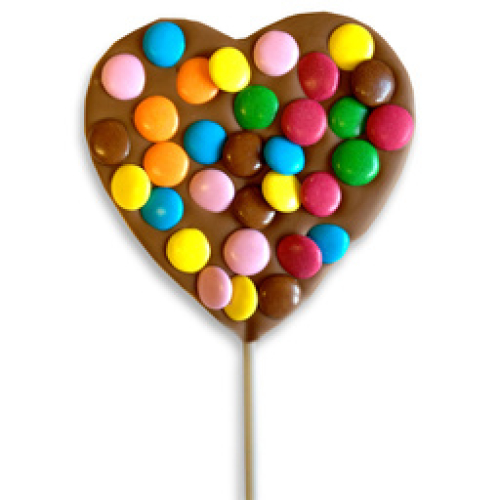 HEART LOLLY WITH CHOCOLATE BEANS