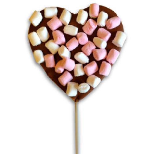 HEART LOLLY WITH MINI MARSHMALLOWS