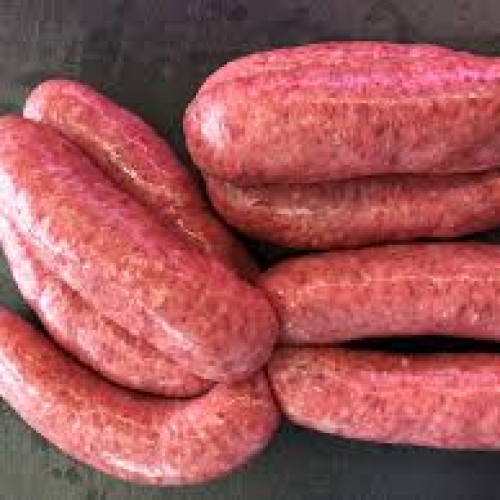 Hereford Beef Sausages, Approx six sausages, weighing approx 600g total. Frozen.