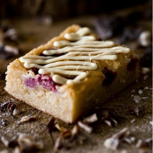 Raspberry and Almond White Chocolate Blondies