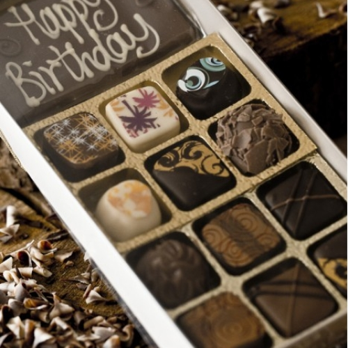 Happy Birthday Bar and 12 Handmade Chocolates