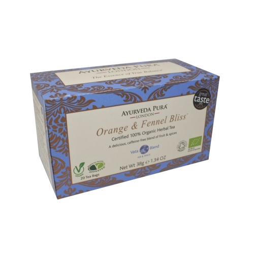 Orange & Fennel BlissTM - Certified Organic Herbal Tea - Vata Blend -38g Box