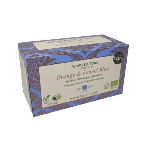 Orange & Fennel BlissTM - Certified Organic Herbal Tea - Vata Blend -38g Box