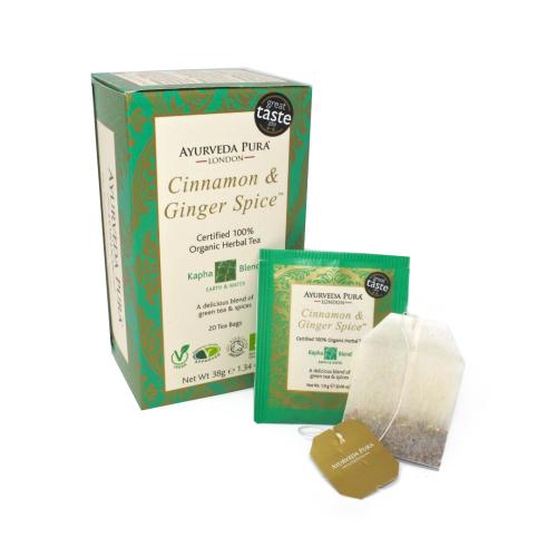 Cinnamon & Ginger SpiceTM - Certified Organic Herbal Tea - Kapha Blend - 38g Box