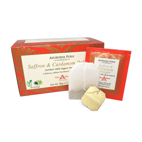 Saffron & Cardamom DelightTM - Certified Organic Herbal Tea - Pitta Blend 38g Box