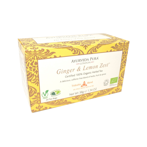 Ginger & Lemon ZestTM - Certified Organic Herbal Tea - Tridoshic Blend - 38g Box