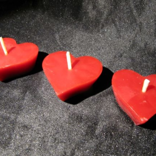 Floating love heart Beeswax candles x 3