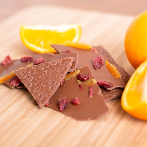 Orange & Cranberry Milk Chocolate Bark