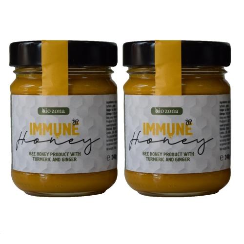 Bio Zona IMMUNE Honey - Turmeric and Ginger Infused Creamed Bee Honey (2 x 240 g)