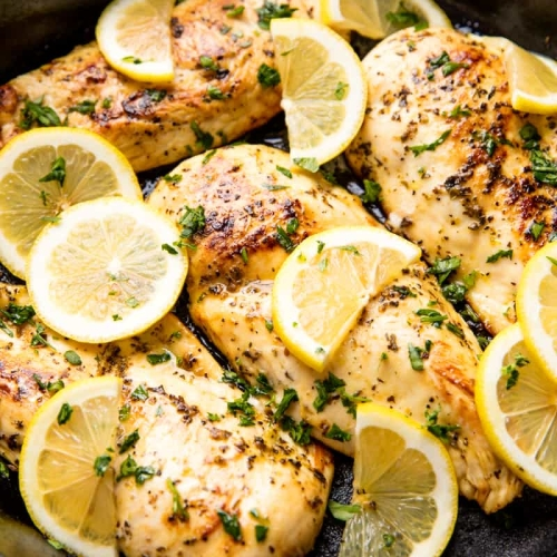 Free range chicken breast marinated with lemon juice, garlic and mixed herbs