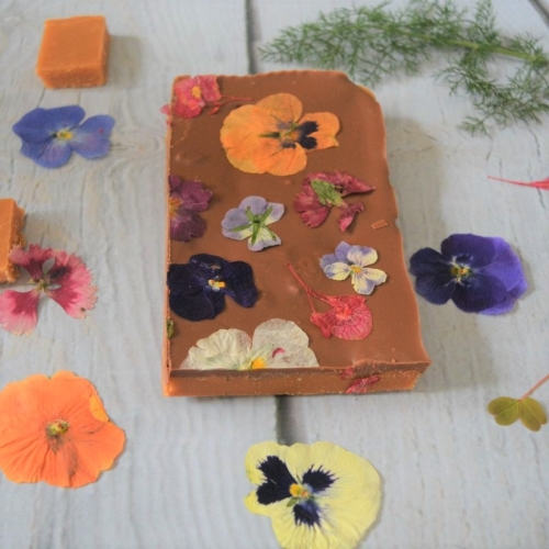 Artisan Fudge Decorated with Milk Chocolate and Edible Flowers