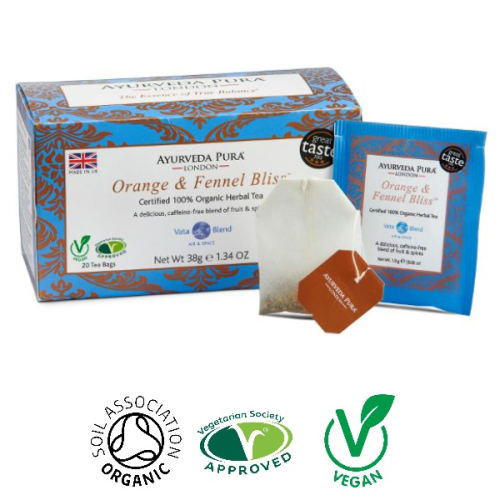 Orange & Fennel Bliss™ Organic Herbal Tea- Vata Blend - 38g Box