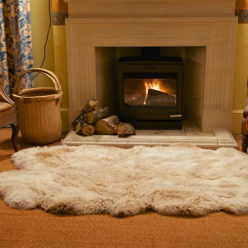 Langley Chase Manx Loaghtan sheepskin quad rug