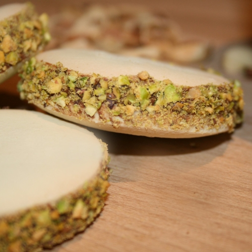 Hazelnut Ganache & Pistachio Alfajores (Box of 4 large biscuits)
