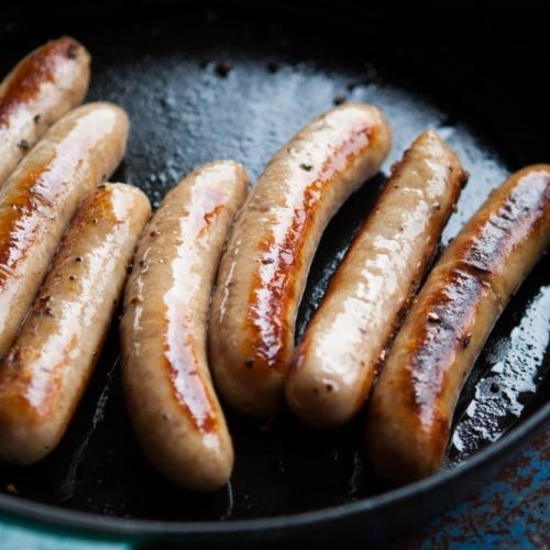 Free range pork and  marmite sausages