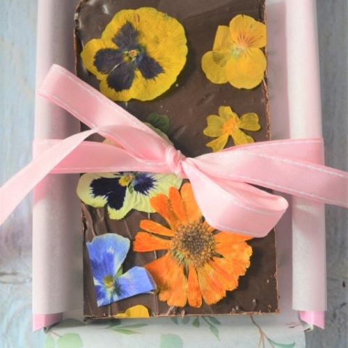Artisan Fudge Decorated with Rich Chocolate and Edible Flowers
