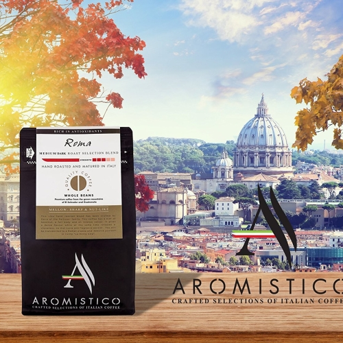 Premium Artisan Hand Roasted Coffee Beans Roma Medium Dark Roast Selection Blend