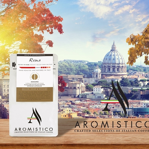 Premium Artisan Ground Coffee Hand Roasted Roma Medium Dark Roast Selection Blend