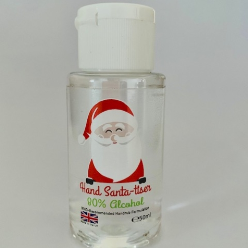 5, 10 or 15 Pack - Santa-tiser - 50ml Hand Sanitiser (80% Alcohol WHO, With Glycerin for Soft Smooth Hands)