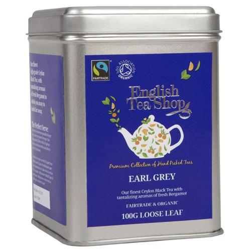 English Tea Shop Organic Fairtrade Earl Grey - 100g Loose leaf tea in a Tin