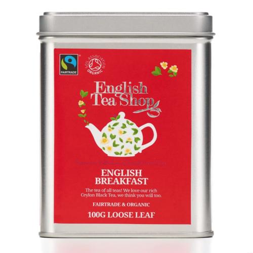 English Tea Shop Organic Fairtrade English Breakfast - 100g Loose leaf tea in a Tin