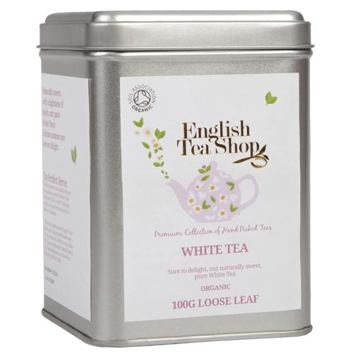 English Tea Shop Organic White Tea - 100g Loose leaf tea in a Tin
