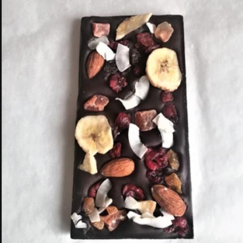 FRUIT & NUTS LOADED ORGANIC GRAND CRU DARK CHOCOLATE BAR 100G MADAGSCAR 100%