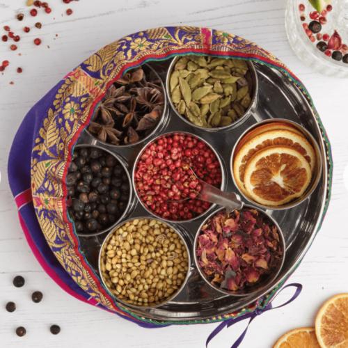 Gin Botanicals Tin with 7 Botanicals & Handmade Silk Sari Wrap