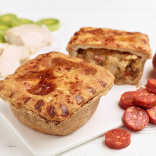 Chicken Chorizo & Leef Pie (frozen)